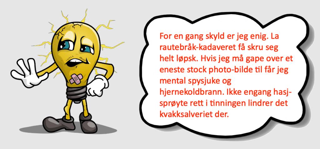 En tegneseriefigur som argumenterer for at det er for mye stock photo bilder på nett, og at vi derfor bør produsere originale bilder til vårt nettsted.