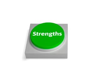 """En knapp der det står """"styrker"""" (strenghts) Brukes for å legge frem styrker ved SEM og SEO"""
