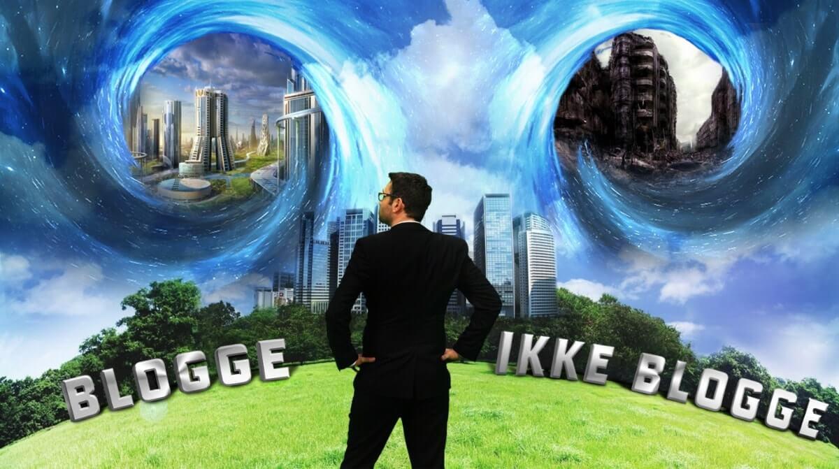 """En mann I dress står å ser opp på himmelen. Han ser to ormehull. Under ormehullet til venstre står det """"blogge"""". Inni ermehullet ser vi et idyllisk bilde av en by. I ermehullet til høyre er det en ødelagt og stygg by. Under ermehullet står det """"ikke blogge"""""""