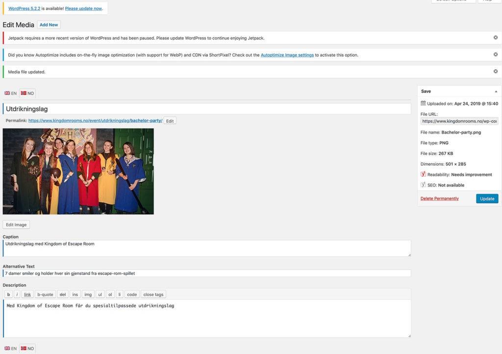 Skjermdump av WordPress backend der bilder tagges med metainformasjon som ALT-tekst og navn på bilde