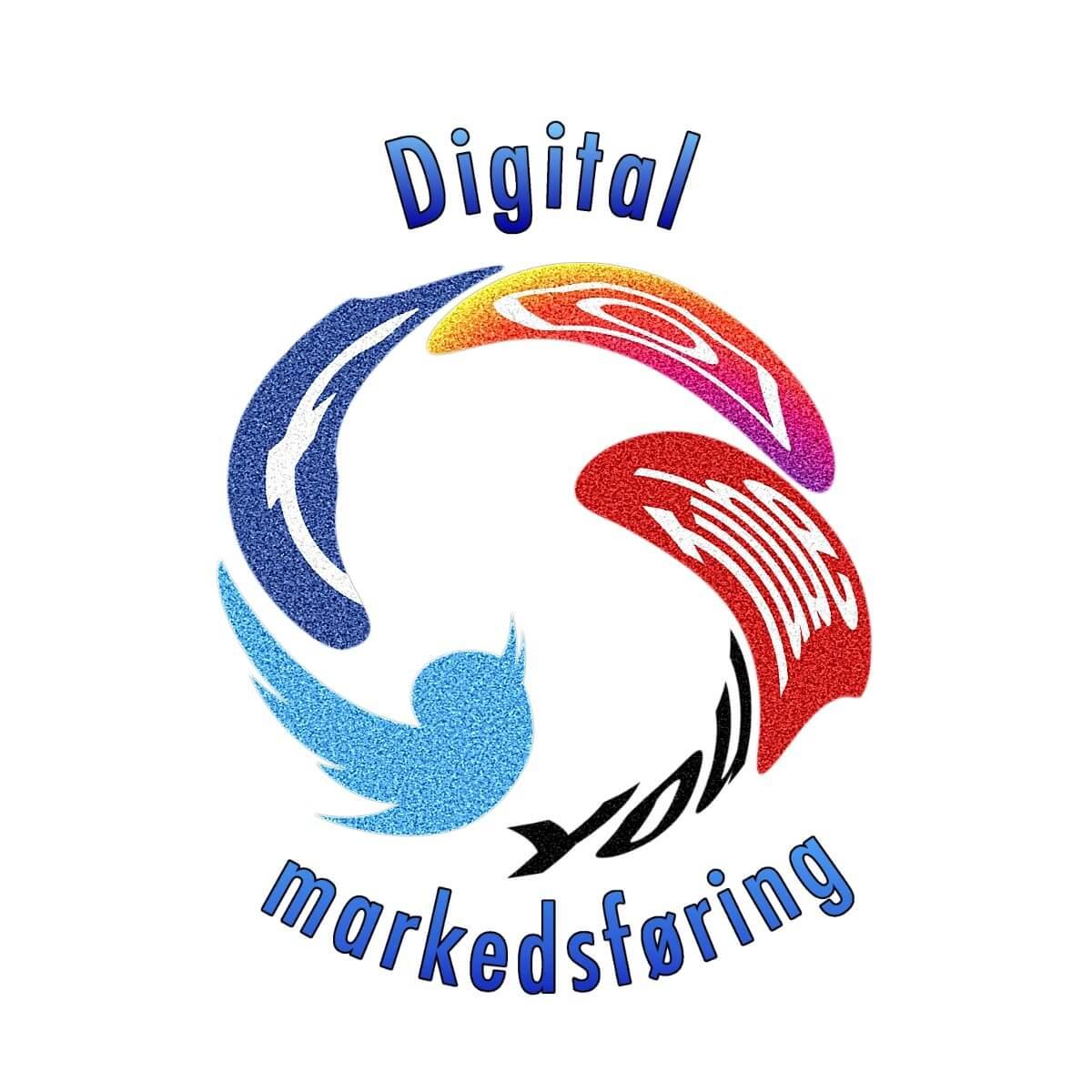 """Logoene til Facebook, Instagram, YouTube og Twitter er forvridd inn i hverandre slik at de danner en sirkel. Oppe og nede kan man lese """"digital markedsføring"""""""