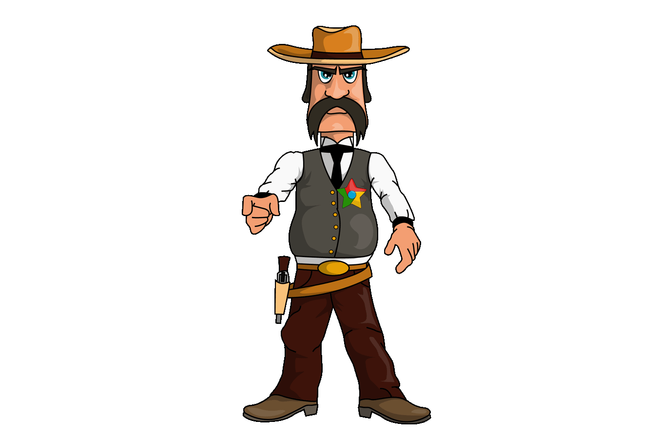 En sheriff med sheriff-stjerne i samme farger som google chrome. Han peker rett mot oss.