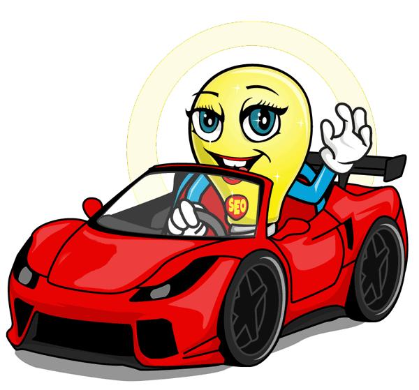 En maskott sitter i en rød sportsbil og vinker.