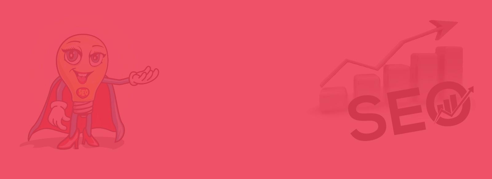 """En maskott henviser til en graf med en pil som peker oppover og skriften """"SEO"""".Bildet er delvis bort i et slør av rødt som dekker hele flaten."""