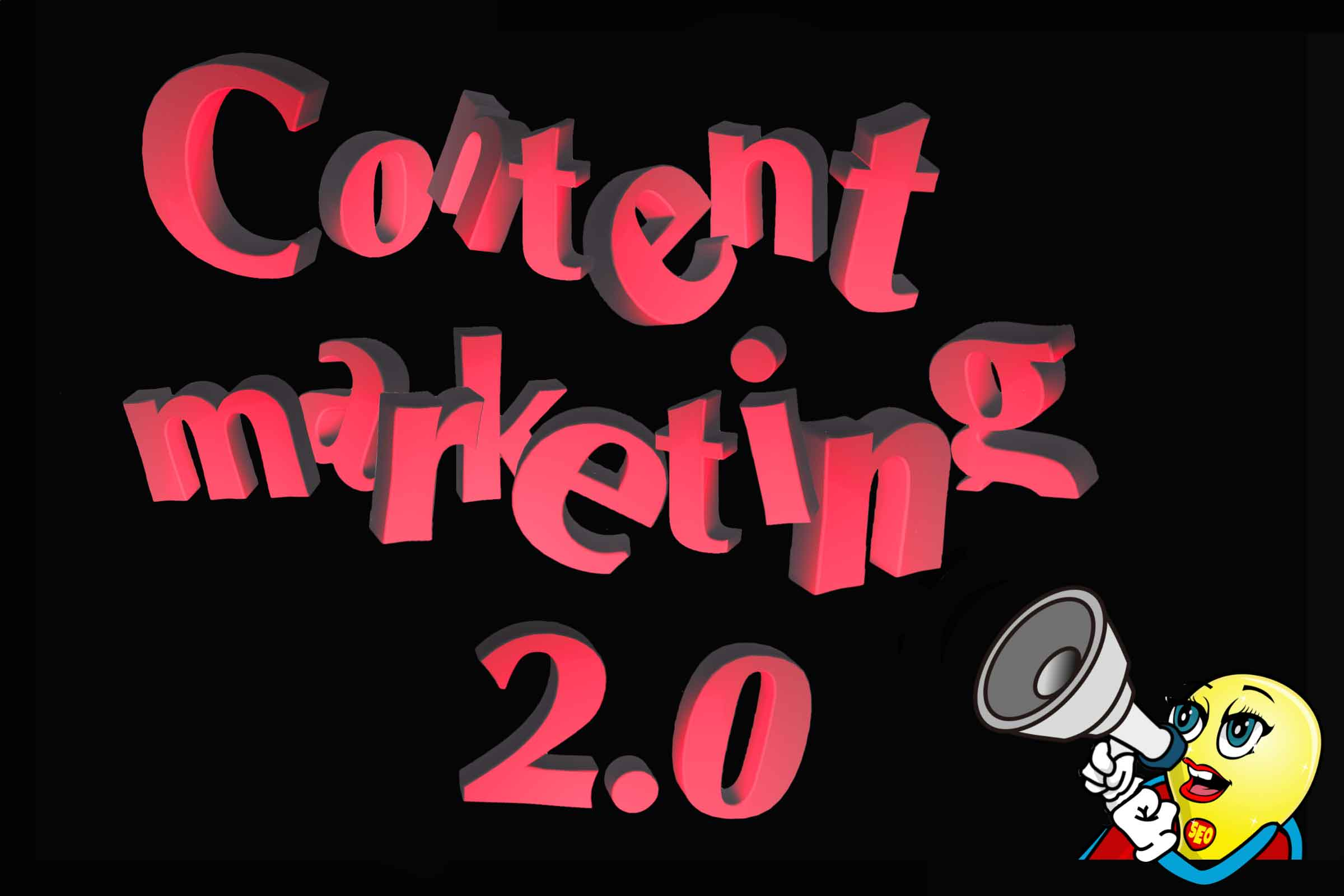 "En maskott står med en ropert. Ovenfor står det ""Content marketing 2.0"" med store 3D-bokstaver i rødt."