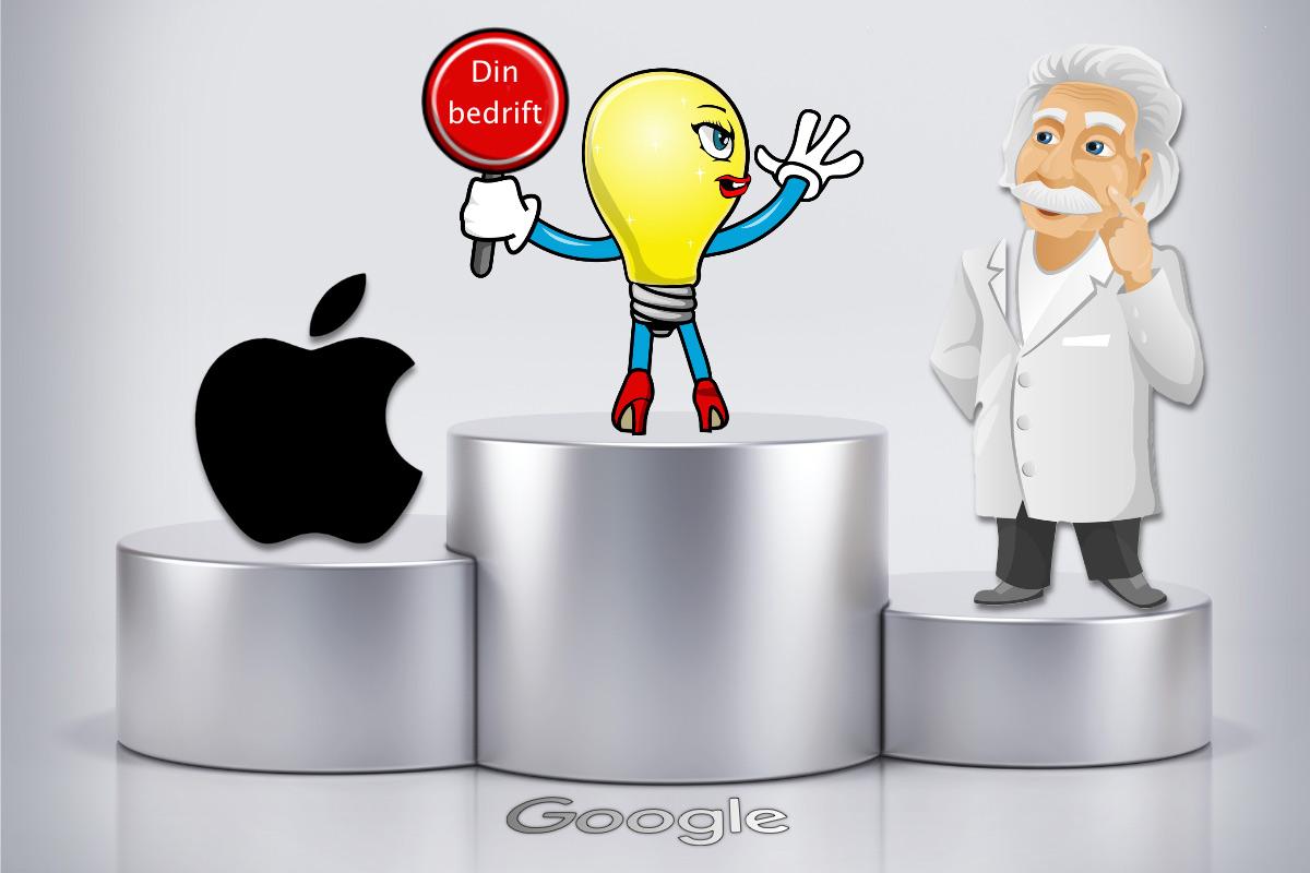 """En maskott står på førsteplass på en seierspall. I hånden holder hun et skilt der det står """"Din bedrift"""". På førsteplass står Apple-logoen. På tredjeplass står Albert Einstein."""