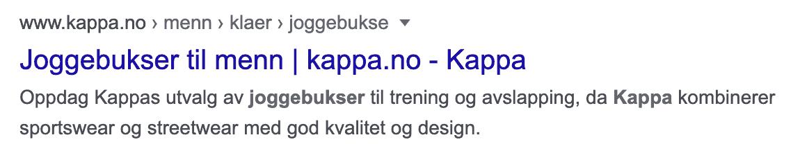 eksempel på sidetittel og metabeskrivelse slik det dukker opp i et google-søk