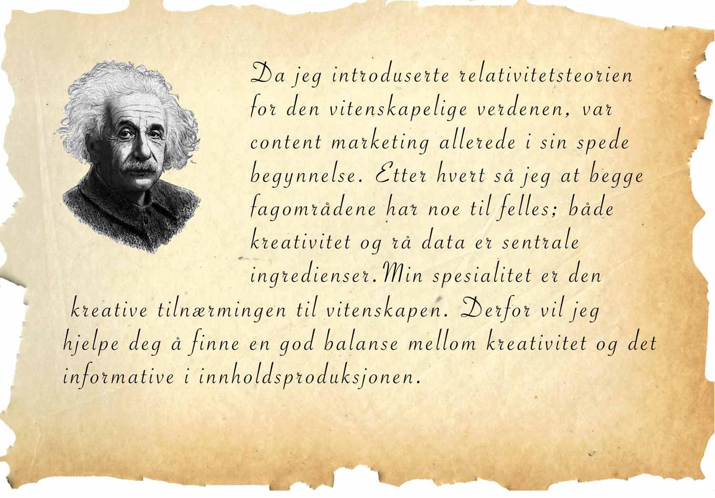 Einstein sitat om kreativitet og innholdsmarkedsføring.