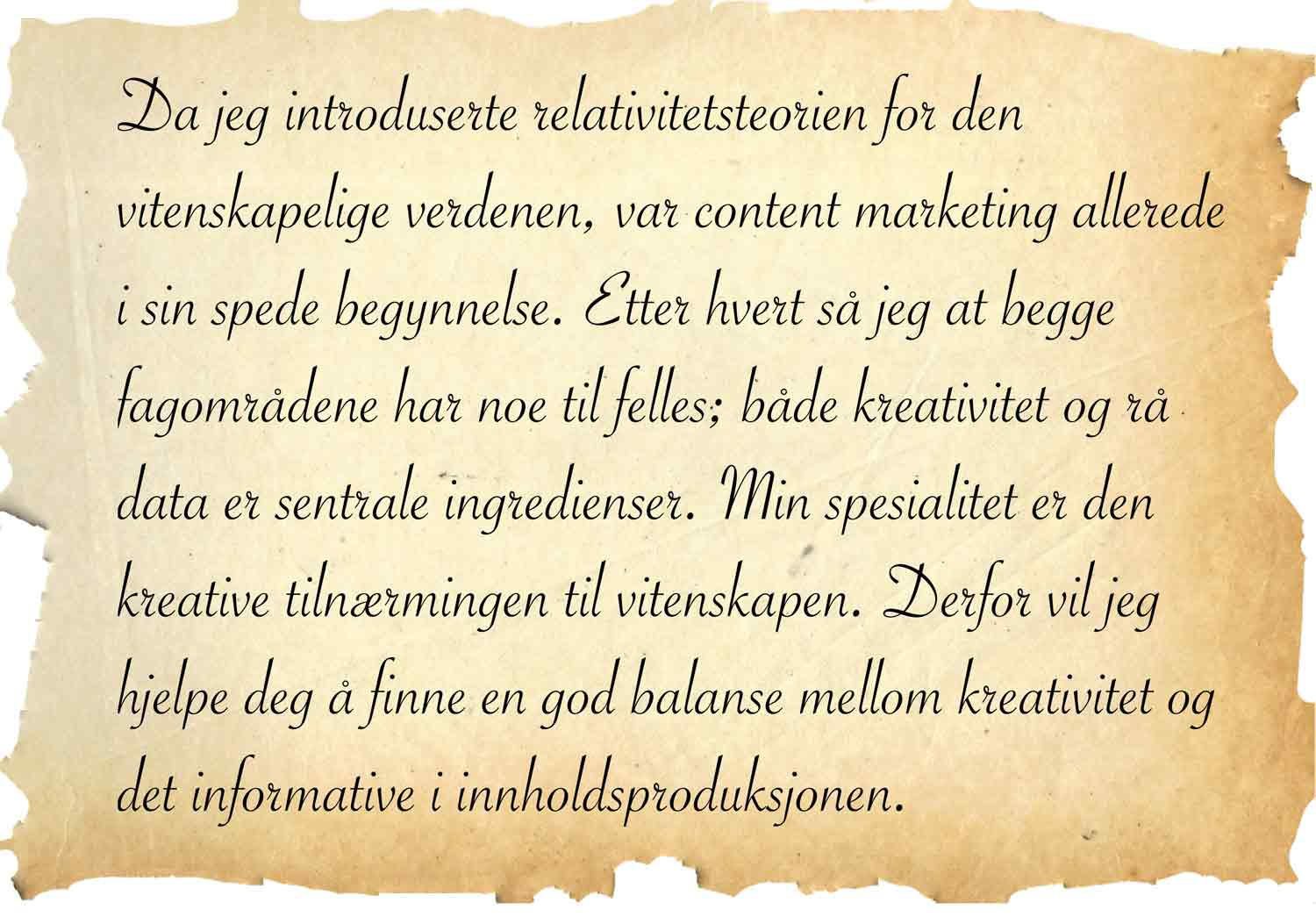 Einstein sitat om relativitetsteorien og content marketing
