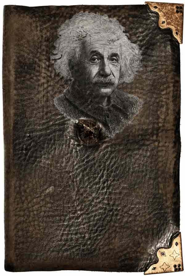 Einsteins dagbok med hans portrett på forsiden: Gammel, brun og slitt.