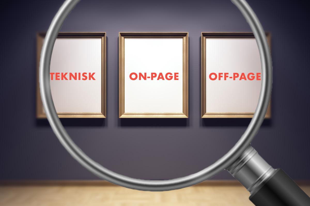 Forstørrelsesglass som omfavner tre bilder med påskrift i et galleri: Teknisk, on-page, off-page SEO.
