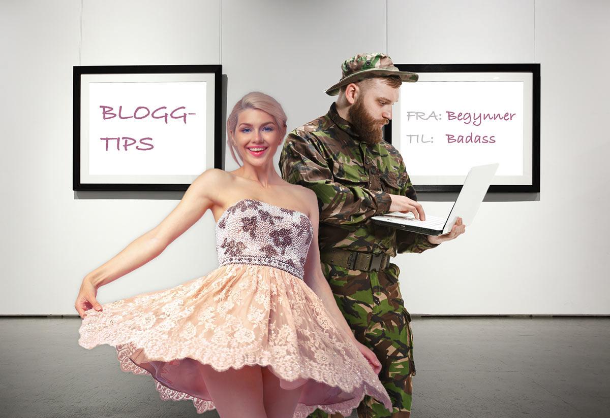 Rosablogger og militærblogger i et galleri. Bloggeren skriver på laptop stående. Bilde med skrift: Bloggtips